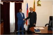 The Ambassador of Sri Lanka to the Russian Federation Dr. Dayan Jayatilleka receives Mr. Vajira Dassanayake, Director General of the Petroleum Resources Development Secretariat